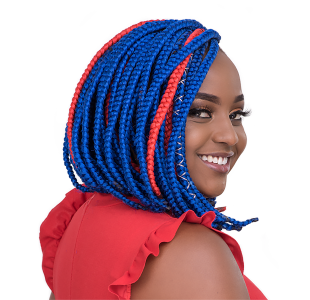 Blue and red Braids